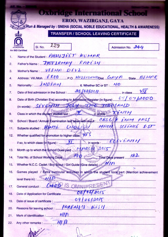 School Leaving Certificate List